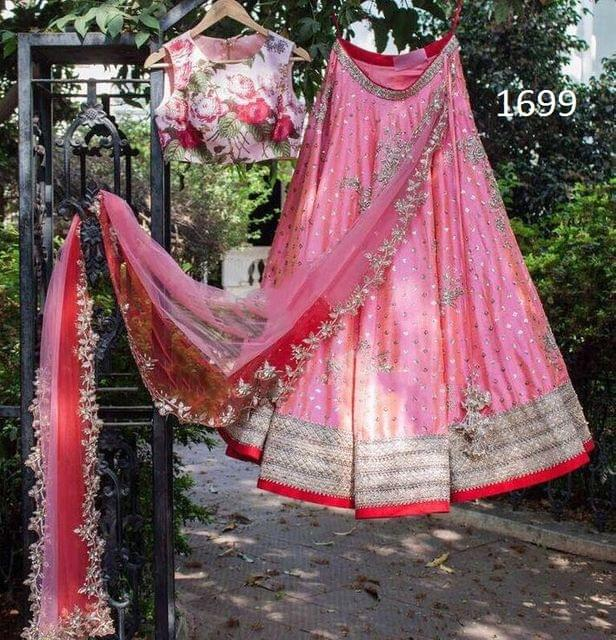 Pink Color Paper Silk Lehenga Choli  Styleaz_1699