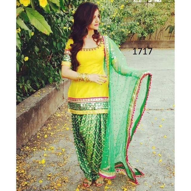 Yellow Color  Paper Silk Patiala Salwar Suit   Styleaz_1717