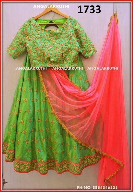 Red & Green Taffeta Lehenga  Choli Styleaz_1733