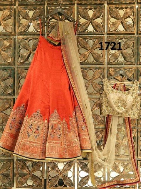 Orange Color Banglori  Lehenga Choli Styleaz_1721