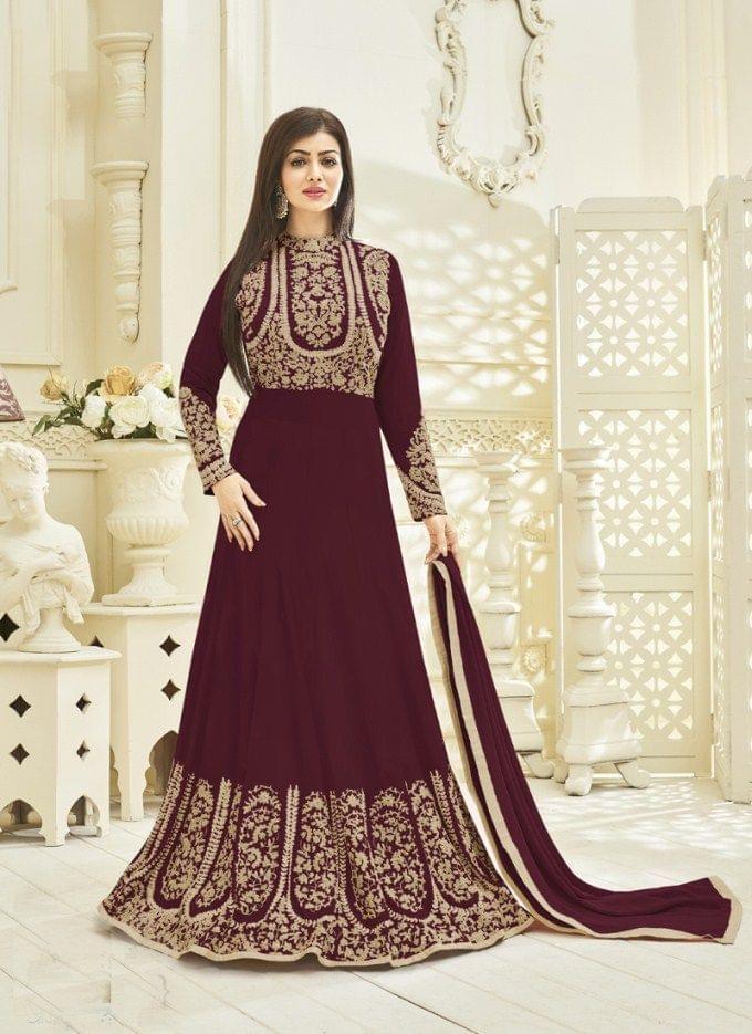 Maroon Color GeorgetteSemi Stitched Anarkali Salwar Suit27537