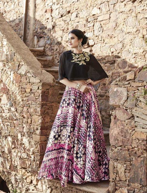 Black Color  Semi Stitched Designer Anarkali Salwar Suit  27064