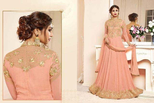Light orange Color  Georgette Anarkali Salwar Suit 27206
