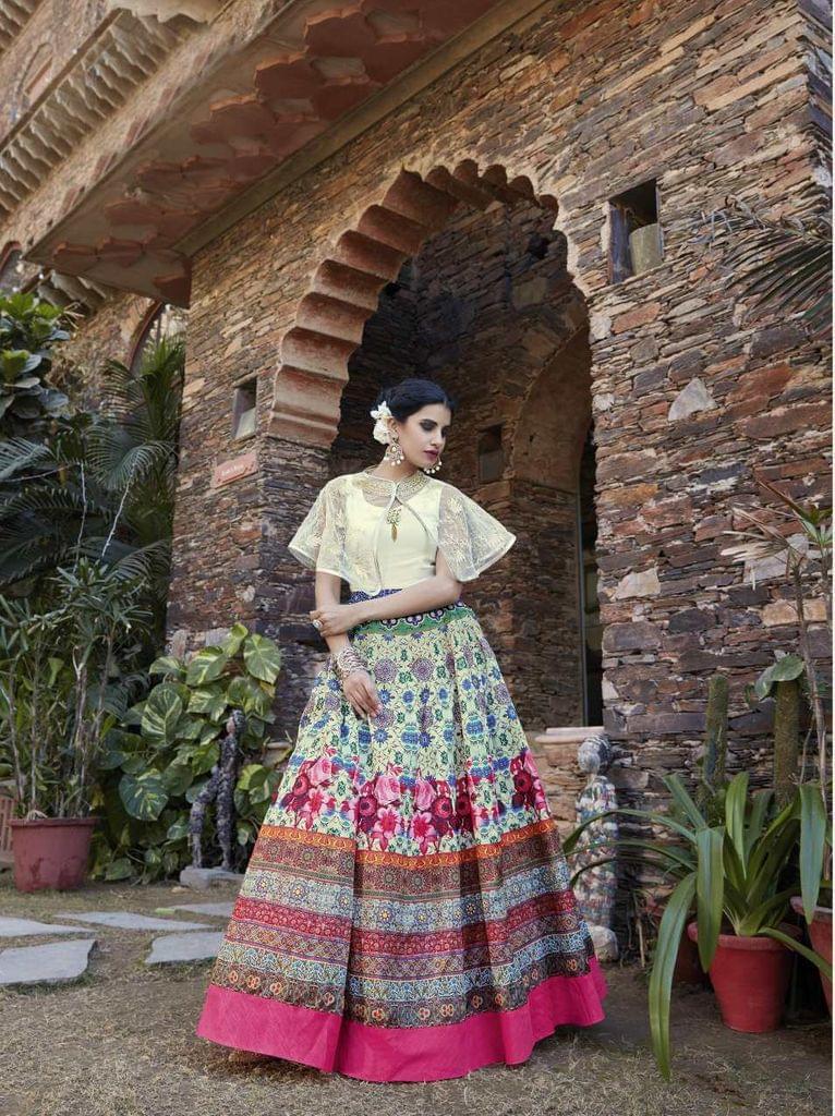 Cream Color  Semi Stitched Designer Anarkali Salwar Suit  27063