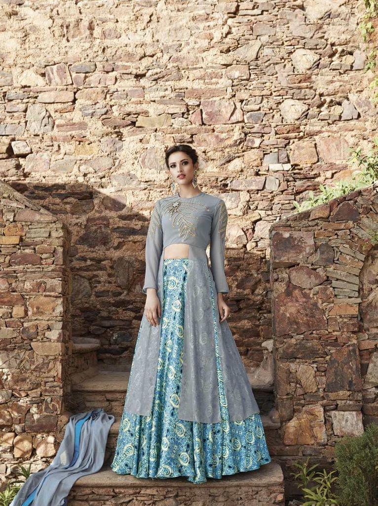 Grey Color  Semi Stitched Designer Anarkali Salwar Suit  27065