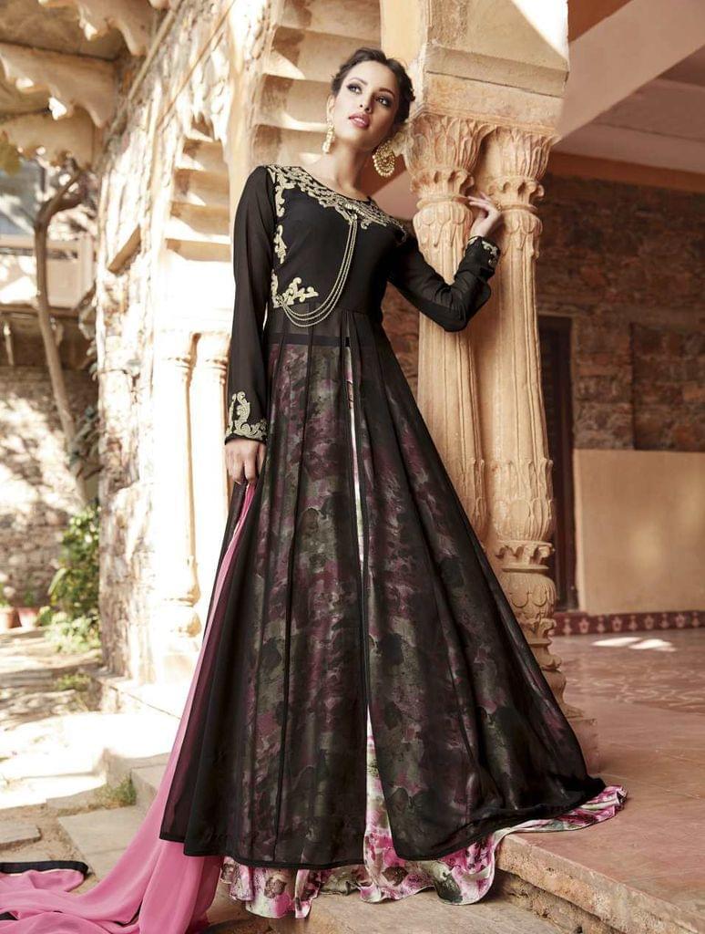 Black Color  Semi Stitched Designer Anarkali Salwar Suit  27067