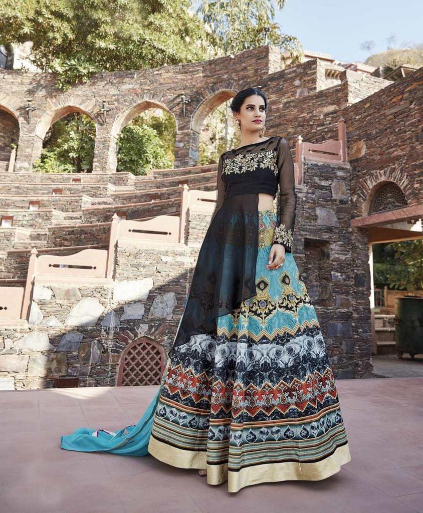 Black Color  Semi Stitched Designer Anarkali Salwar Suit  27069