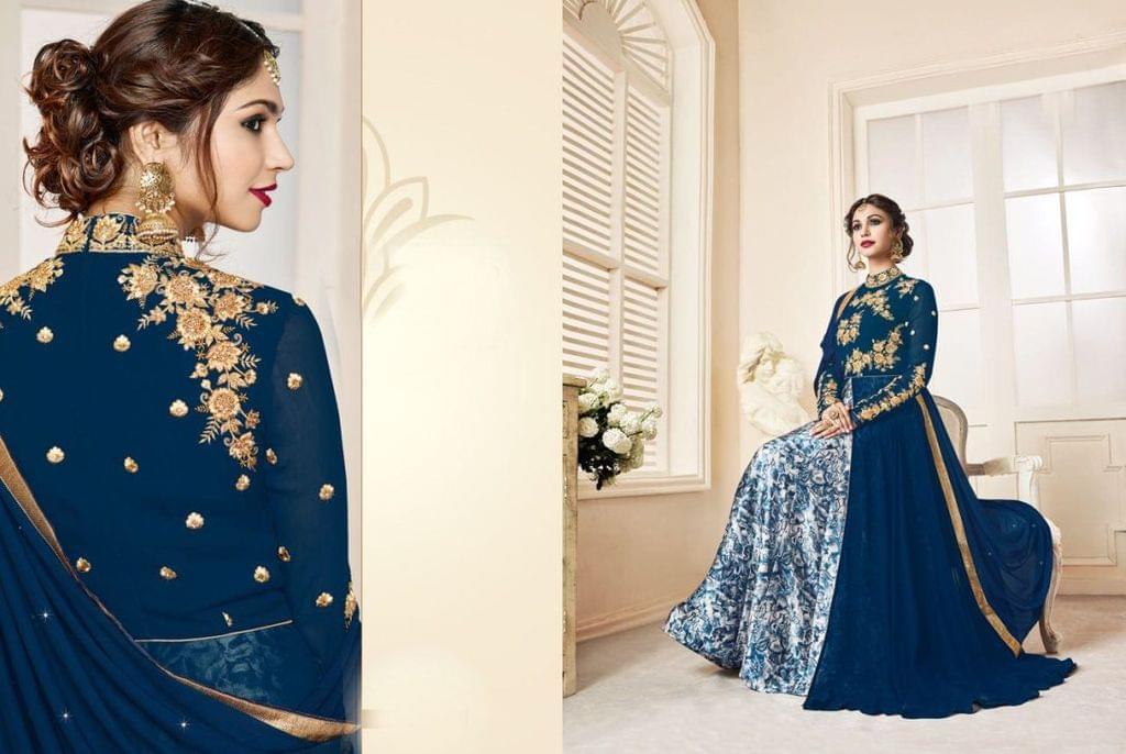 Blue Color  Georgette Anarkali Salwar Suit 27209