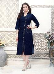 Navy Blue Color Cotton Denim Designer Readymade Kurti 27085