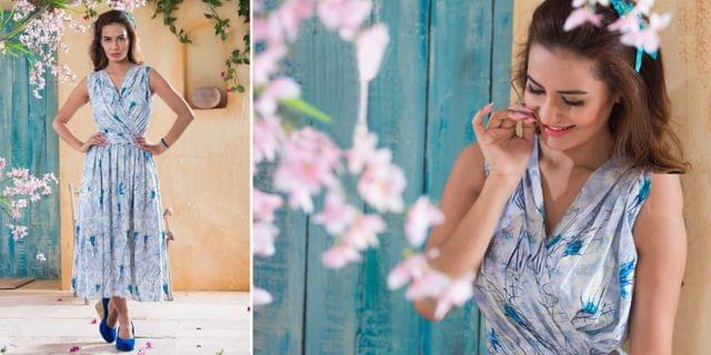 Rayon & Crepe Western Dresses 90019