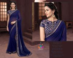 Navy Blue Color Chiffon Saree FD-G1