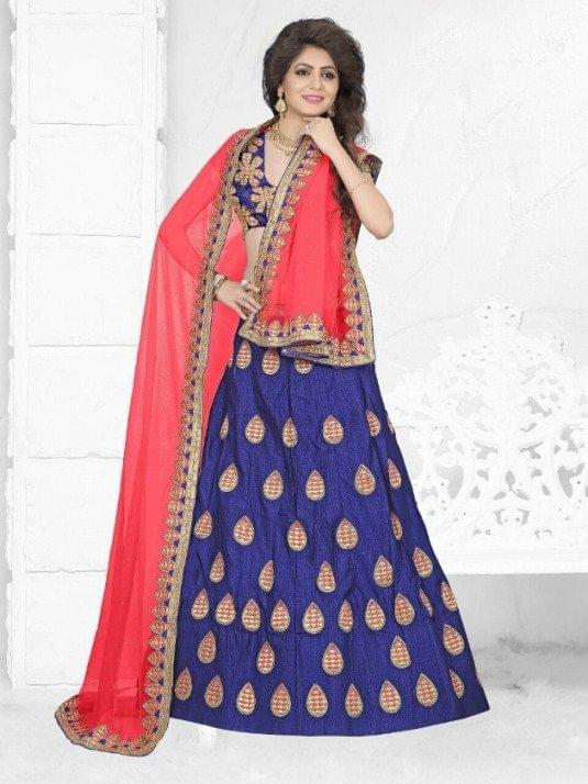 Navy Blue  Embroidered Semi Stitched Lehenga Choli 1711002