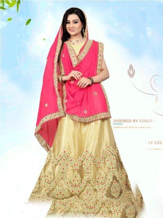 Golden Silk Semi Stitched  Lehenga Choli  1711004
