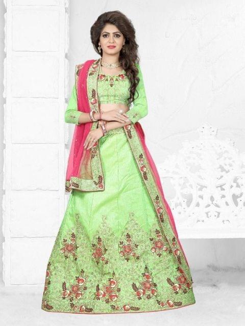 Green Silk  Embroidered Semi Stitched Butta Work Lehenga Choli  1711010