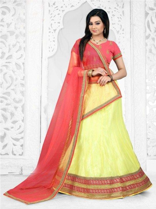 Yellow  Embroidered Semi Stitched Lace work Lehenga Choli  1711003