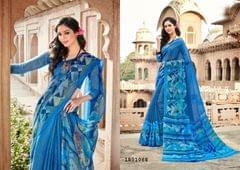 Blue Color Border Design Cotton Saree  Beautiful Saree 1801068
