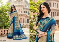 Beige Color Border Design Cotton Saree  Beautiful Saree 1801072