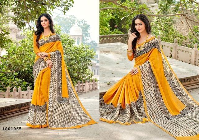 Yellow Color Zigzag Border Design Cotton Saree  Beautiful Saree 1801065
