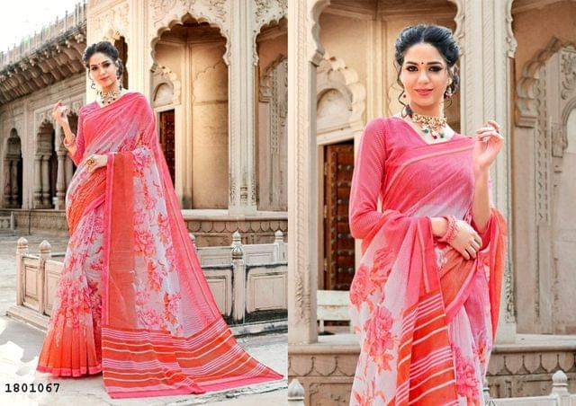 Pink Color Border Design Cotton Saree  Beautiful Saree 1801067