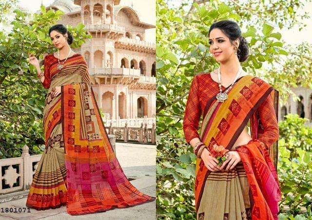 Multi Color Border Design Cotton Saree  Beautiful Saree 1801071