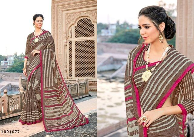 Brown Color Border Design Cotton Saree  Beautiful Saree 1801077