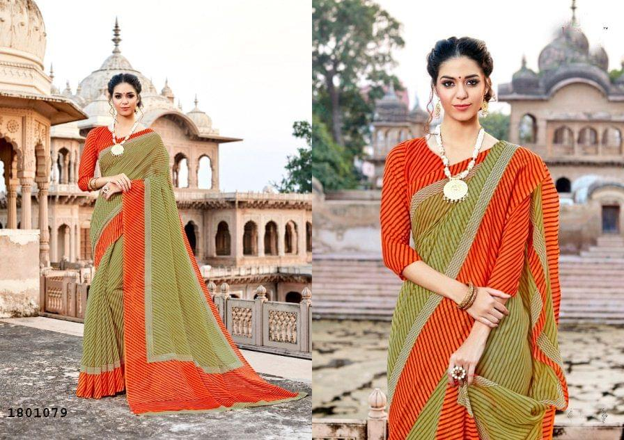 Beige Color Border Zig zag Design Cotton Saree  Beautiful Saree 1801079