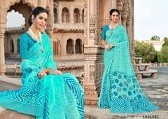 Blue Color Border Design Cotton Saree  Beautiful Saree 1801081