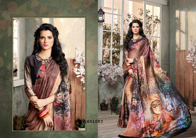 Brown Color Digital Printed Satin Georgette Design Saree  Beautiful Saree 1801083
