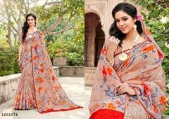 Peach Color Border Design Cotton Saree  Beautiful Saree 1801074