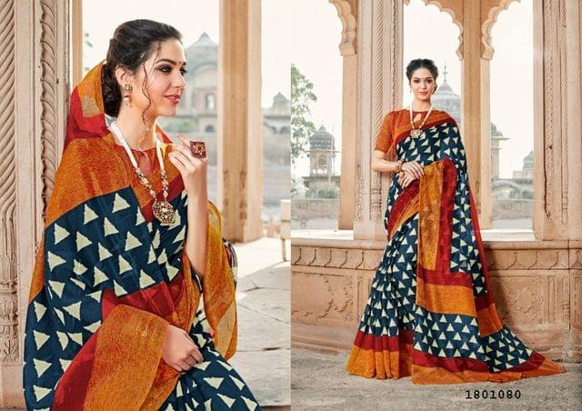 Navy Blue Color Border Design Cotton Saree  Beautiful Saree 1801080