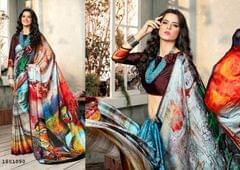 Multi Color   Satin Georgette Design Saree  Beautiful Saree 1801090