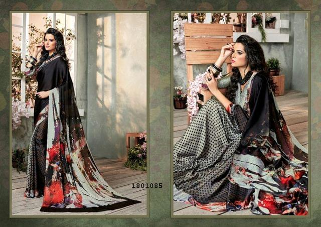 Black Color Digital Printed Satin Georgette Design Saree  Beautiful Saree 1801085