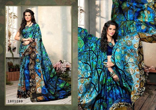 Blue Color   Satin Georgette Design Saree  Beautiful Saree 1801089