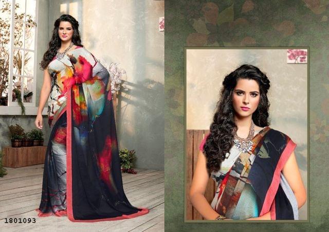 Grey Color   Satin Georgette Design Saree  Beautiful Saree 1801093