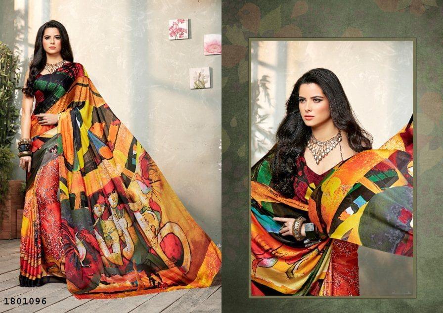 Multi Color   Satin Georgette Design Saree  Beautiful Saree 1801096