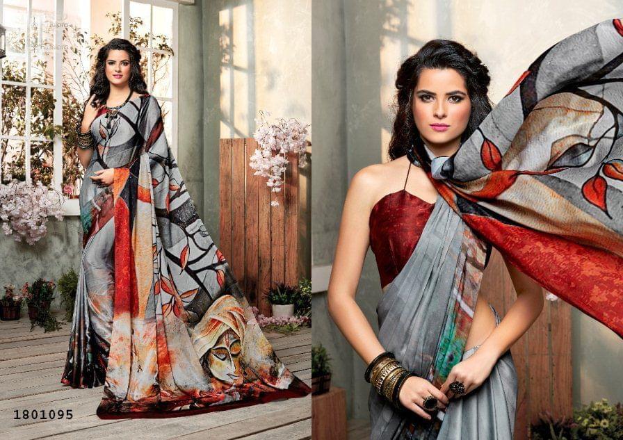 Gray Color   Satin Georgette Design Saree  Beautiful Saree 1801095