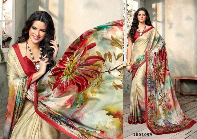 Beige Color Digital Printed Satin Georgette Design Saree  Beautiful Saree 1801099