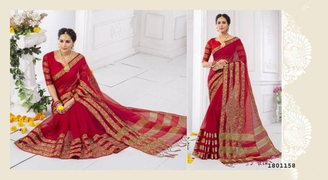 Red Color Golden Weaving Border Design Cotton Weaving Saree 1801158