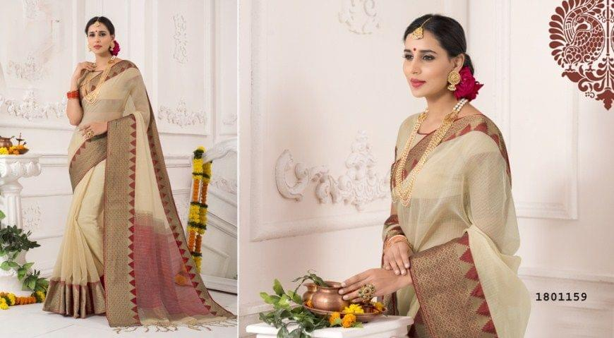 Chiku Color Golden Weaving Border Design Cotton Weaving Saree 1801159