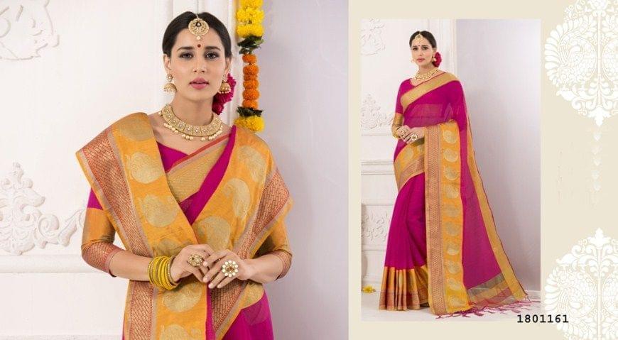 Rani Pink Color Golden Weaving Border Design Cotton Weaving Saree 1801161