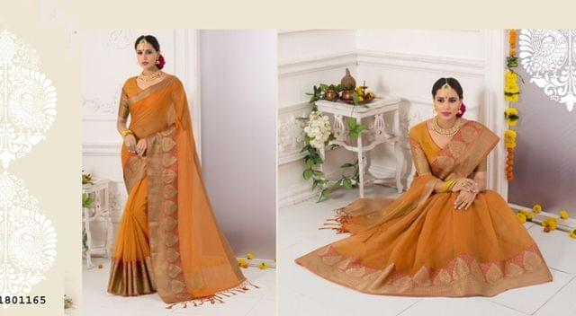 Orange Color Golden Weaving Border Design Cotton Weaving Saree 1801165