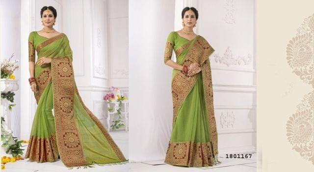 Mahendi Green Color Golden Weaving Border Design Cotton Weaving Saree 1801167