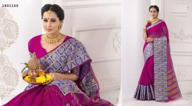 Purple Color Golden Weaving Border Design Cotton Weaving Saree 1801160