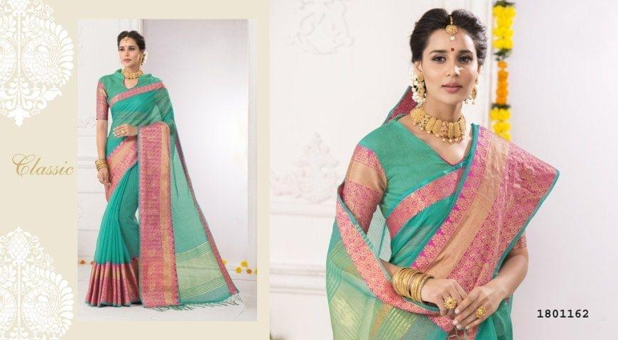 Sea Green Color Golden Weaving Border Design Cotton Weaving Saree 1801162