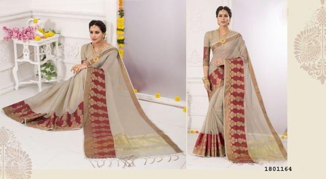 Chiku Color Golden Weaving Border Design Cotton Weaving Saree 1801164