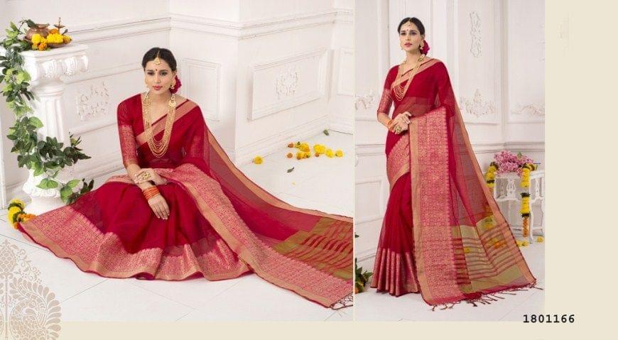 Maroon Color Golden Weaving Border Design Cotton Weaving Saree 1801166