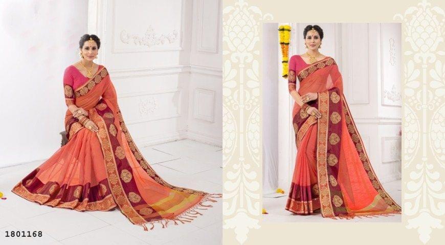 Gajri Color Golden Weaving Border Design Cotton Weaving Saree 1801168
