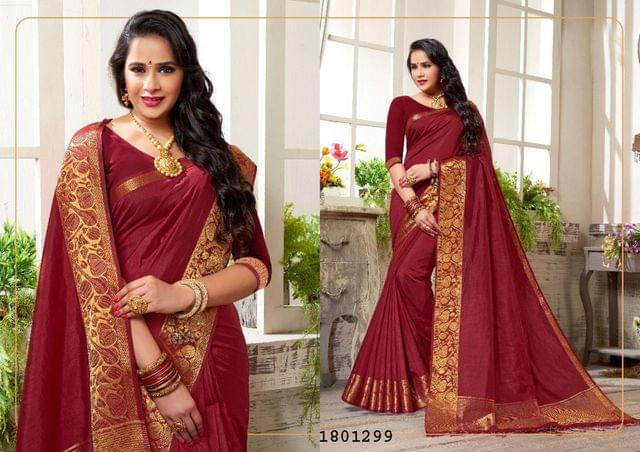 Maroon Color Golden Weaving Border Design Nylon  Saree 1801299