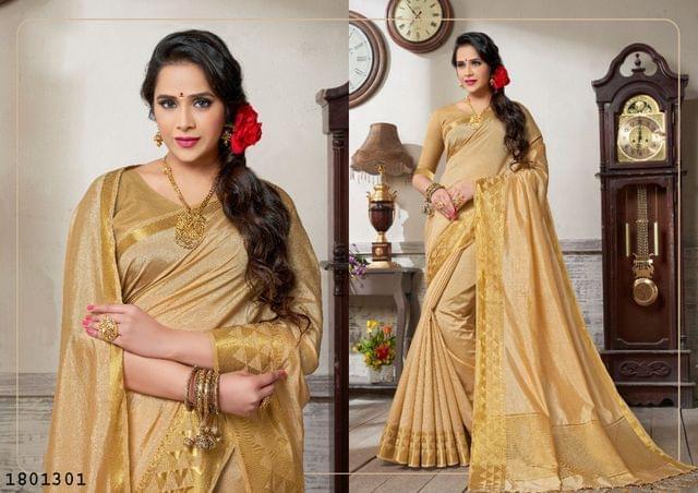 Golden Color Golden Weaving Border Design Nylon  Saree 1801301