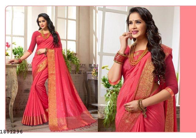 Gajri Color Golden Weaving Border Design Nylon  Saree 1801296